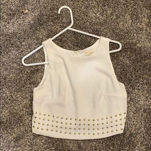 White and gold detailing cropped top